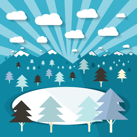 clouds scape: Winter Landscape with Trees and Lake . Blue Flat Design Vector Illustration