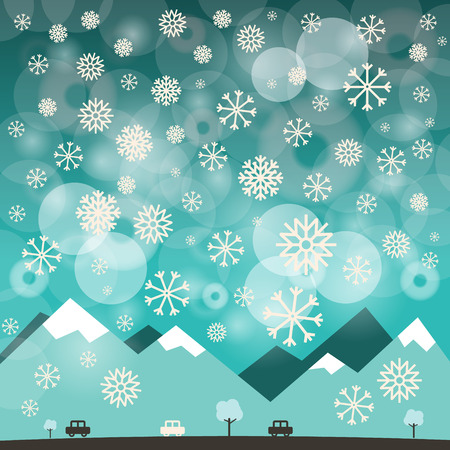 winter car: Winter Blue Background with Snowflakes. Vector Illustration of Mountains and Road with Cars. Illustration