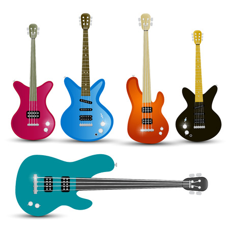 guitar neck: Guitars and Bass Guitars Set Isolated on White Background Vector Illustration