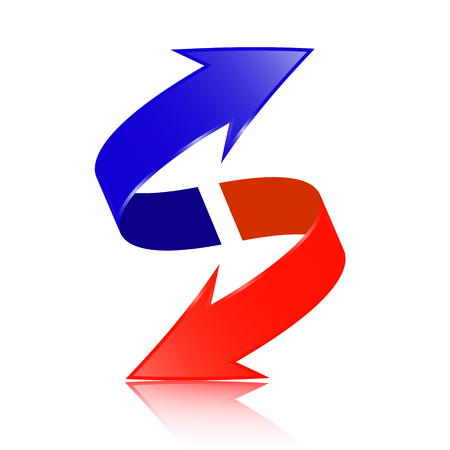 Red and Blue Double Arrow Vector 3D Ilustração