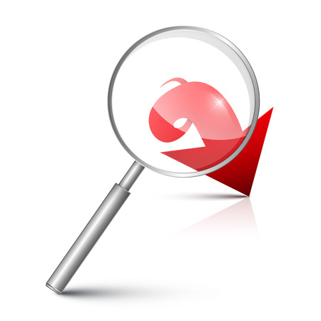 magnifying glass icon: Magnifying Glass with Red Arrow