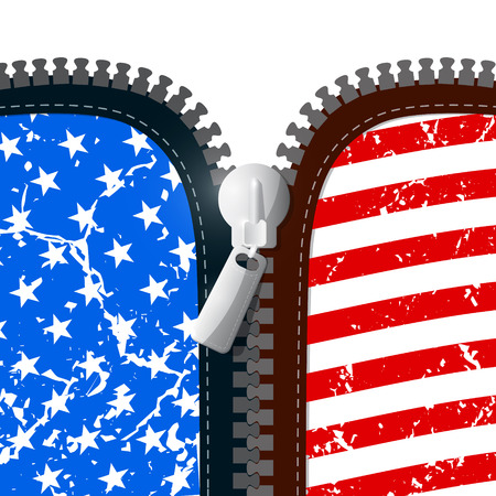 apparel part: Vector Zipper Illustration with American Flag