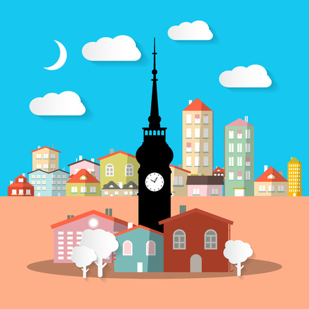 town abstract: City - Town. Abstract Vector Urban Landscape with Houses and Tower.