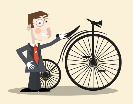 cycle suit: Business Man and Vintage Bike Vector