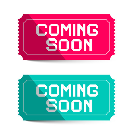 coming soon: Coming Soon Pink and Blue Paper Tickets Isolated on White Background - Vector