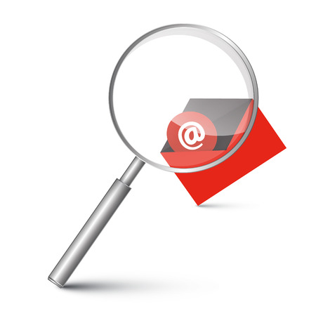 red envelope: At Sign in Red Envelope - Email Icon with Magnifying Glass Vector Illustration