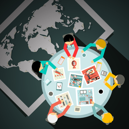 top of the world: Top View Table with Businessmen and World Map on Bottom Vector Illustration