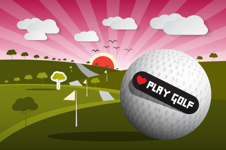 course: Golf Ball Vector Illustration on Field with Sun and Sky and Heart Shape Love Play Golf Title Illustration