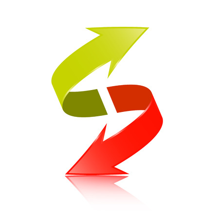 Double Arrow Vector 3D Green and Red Symbol