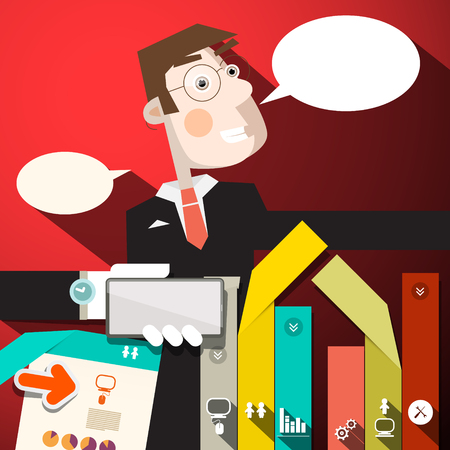 to tie: Business Man with Paper Infographic Elements and Empty Speech Bubbles Vector