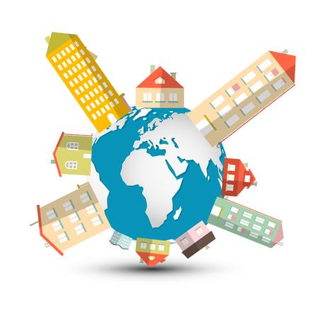 housing development: Housing Development Vector Illustration with Houses on Globe - Earth