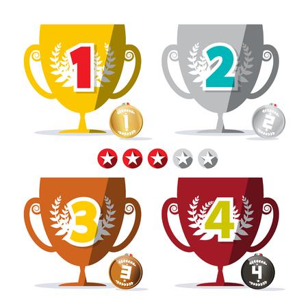 Ganan el diseño copas y medallas de pantalla plana conjunto con clasificaciones de estrellas etiquetas Ilustración de vector