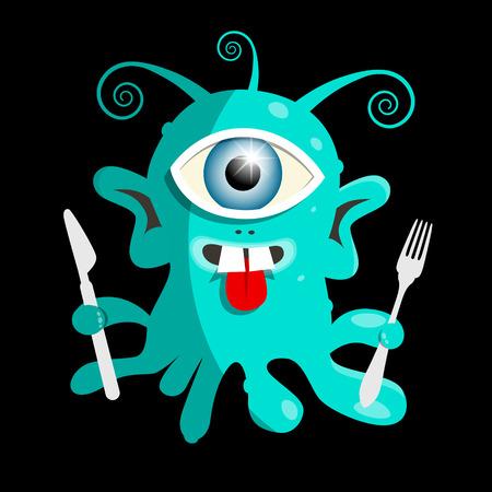 bacillus: Alien or Bacillus - Virus Vector Illustration on Black Background