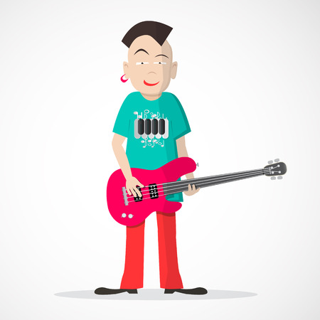 bass player: Bass Guitar Player - Punk Style Vector Isolated on Light Background Illustration