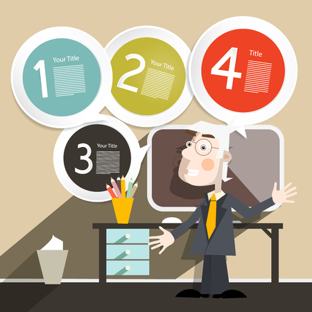 to tie: Businessman or Teacher with Computer and Four Steps Paper Infographic Template Illustration