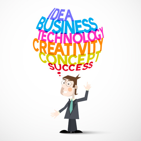 titles: Businessman and Idea Business Technology Creativity Concept Success Titles Illustration