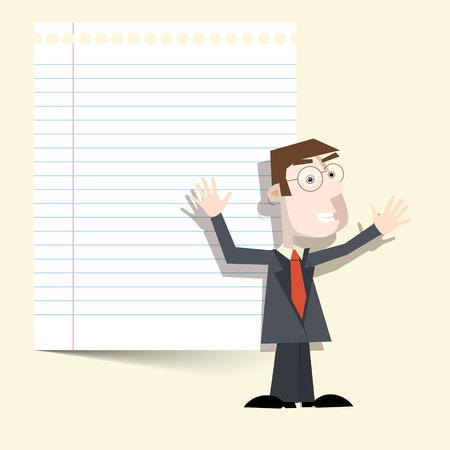 cartoon work: Man with Notebook Paper Vector