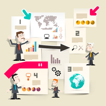business people meeting: Vector Presentation Infographics - Graphs with Businessmen and Papers with World Map and Globe Icons Illustration