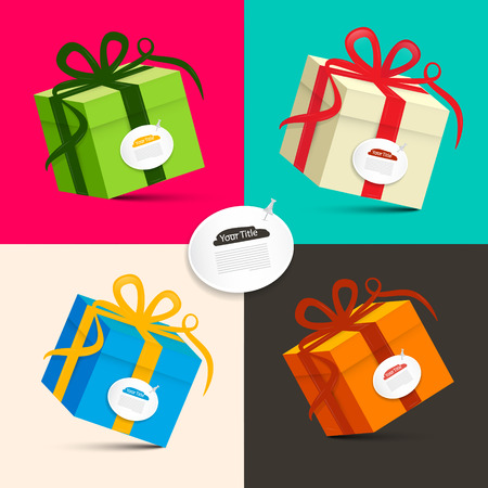 gift: Gift Boxes - Retro Colored Paper Vector Present Box Set
