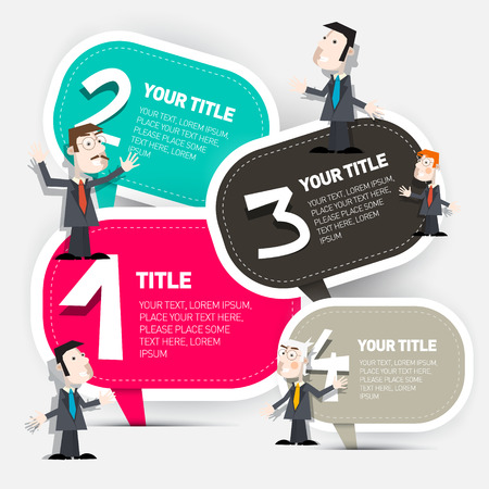 Four Steps Vector Infographic Layout with Paper Labels and Businessmen Set Illustration