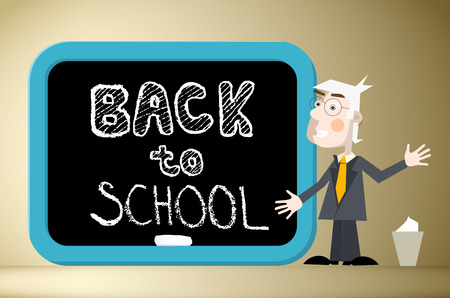 blackboard cartoon: Back to School Title on Blackboard with Teacher Illustration