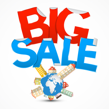 price development: Big Sale Title with Earth - Globe and Houses on White Background
