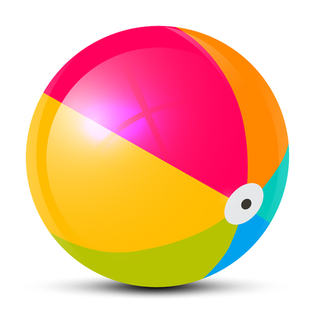 pelota caricatura: Bola de playa de colores aislados sobre fondo blanco