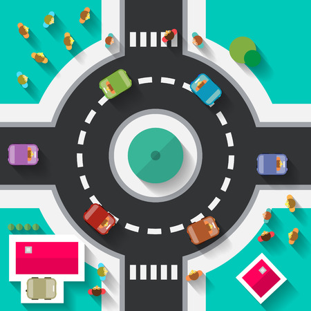 roundabout: Top View Flat Design Roundabout Crossroad - Streets and Paths