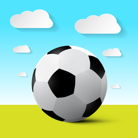 banni�re football: Soccer Ball on Field Illustration with Blue Sky and Clouds