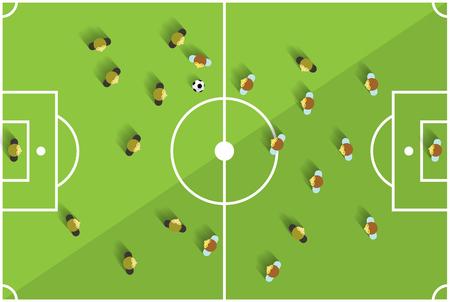 jugadores de futbol: Vista superior de juegos de fútbol con los jugadores