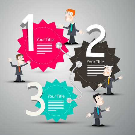 Infographic Layout with Paper Labels and Businessmen