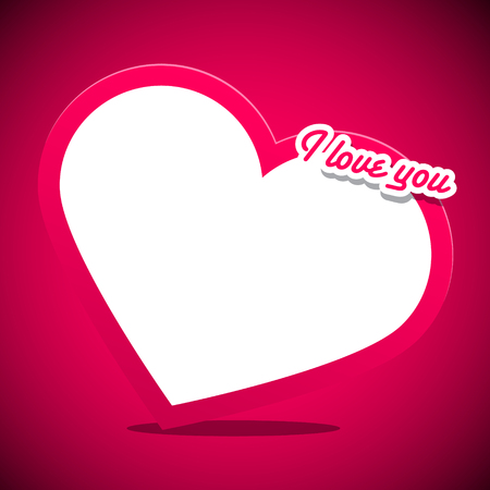 title: Heart with I Love You Title on Pink Background