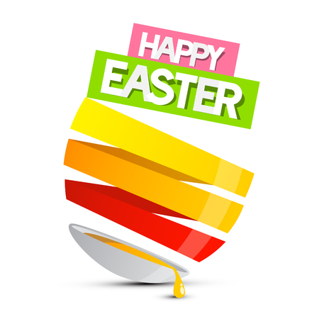 spilt: Happy Easter Abstract Egg with Spilt Yolk Illustration Isolated on White Background