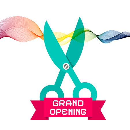 scissors icon: Grand Opening with Scissors and Colorful Wave Ribbon on White Background