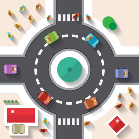 roundabout: Flat Design Top View Street Roundabout with Cars and People