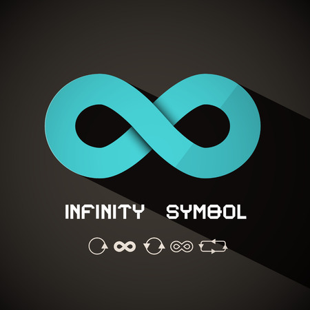 symbol: Infinity Symbol - Blue Retro Endless Sign on Dark Background