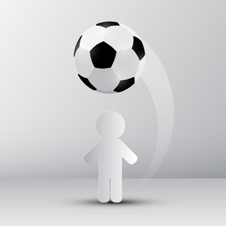 soccer field: Football - Soccer Ball with Paper Cut Player Illustration