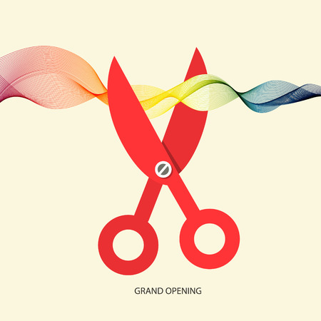 introducing: Grand Opening with Scissors and Colorful Wave Ribbon Illustration