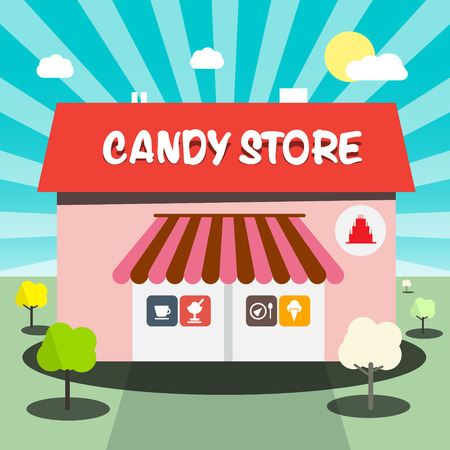 candy store: Candy Store Flat Design Illustration Illustration
