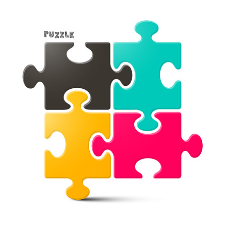 jigsaw pieces: Puzzle Illustration Isolated on White Background