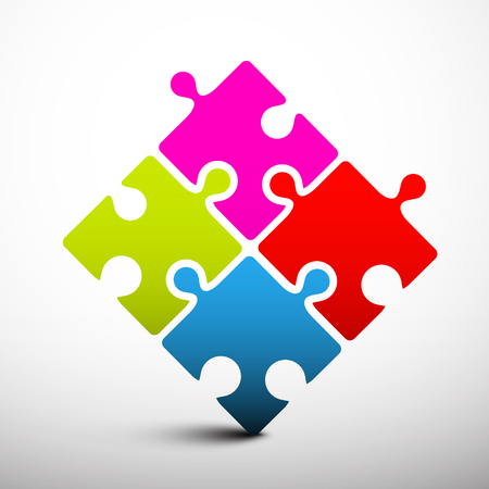 red puzzle piece: Puzzle Vector Illustration