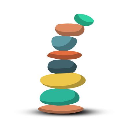 stacked stones: Stones - Pebbles Heap Retro Vector Illustration