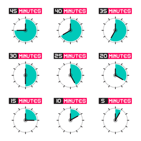 twenty second: Clock Face with Different Time Vector Illustration Set Isolated on White Background