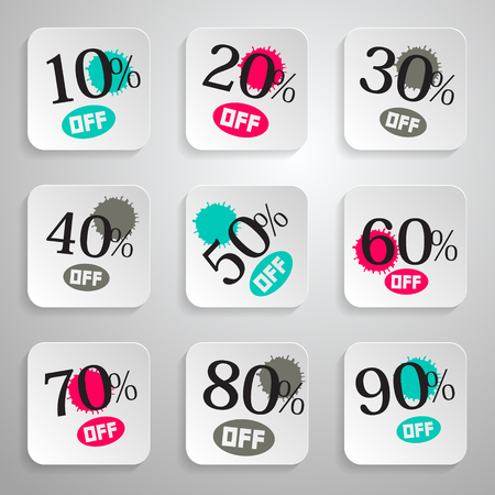 rounded squares: Vector Paper Rounded Squares Discount Sale Splashes Set Illustration