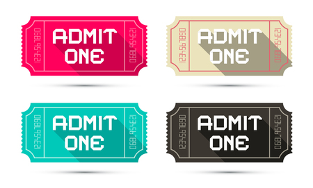 admit: Admit One Tickets Set - Retro Vector Illustration Isolated on White Background