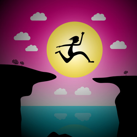 precipice: Jumping Over Precipice Vector Cartoon - Man or Woman Leap with Ocean and Sea and Sunset Sky