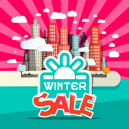 drizzle: Winter Sale Retro Flat Design Vector Illustration with City, Clouds and Sun
