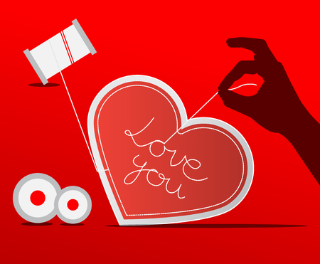 sewed: Sewing Paper Heart with Human Hand on Red Background Illustration