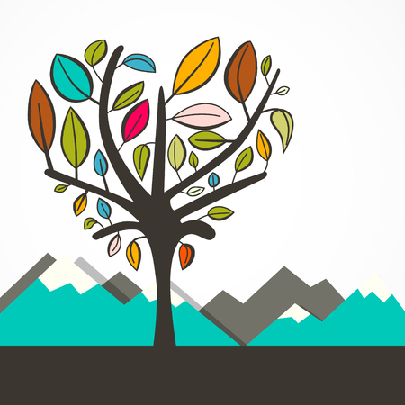 heart shaped leaves: Heart Shaped Tree with Colorful Leaves Vector Flat Design Illustration with Mountains - Hills on Background Illustration