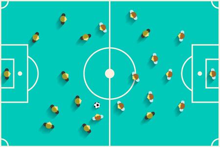jugadores de futbol: Vista superior de juegos de fútbol con los jugadores del vector retro diseño plano Ilustración